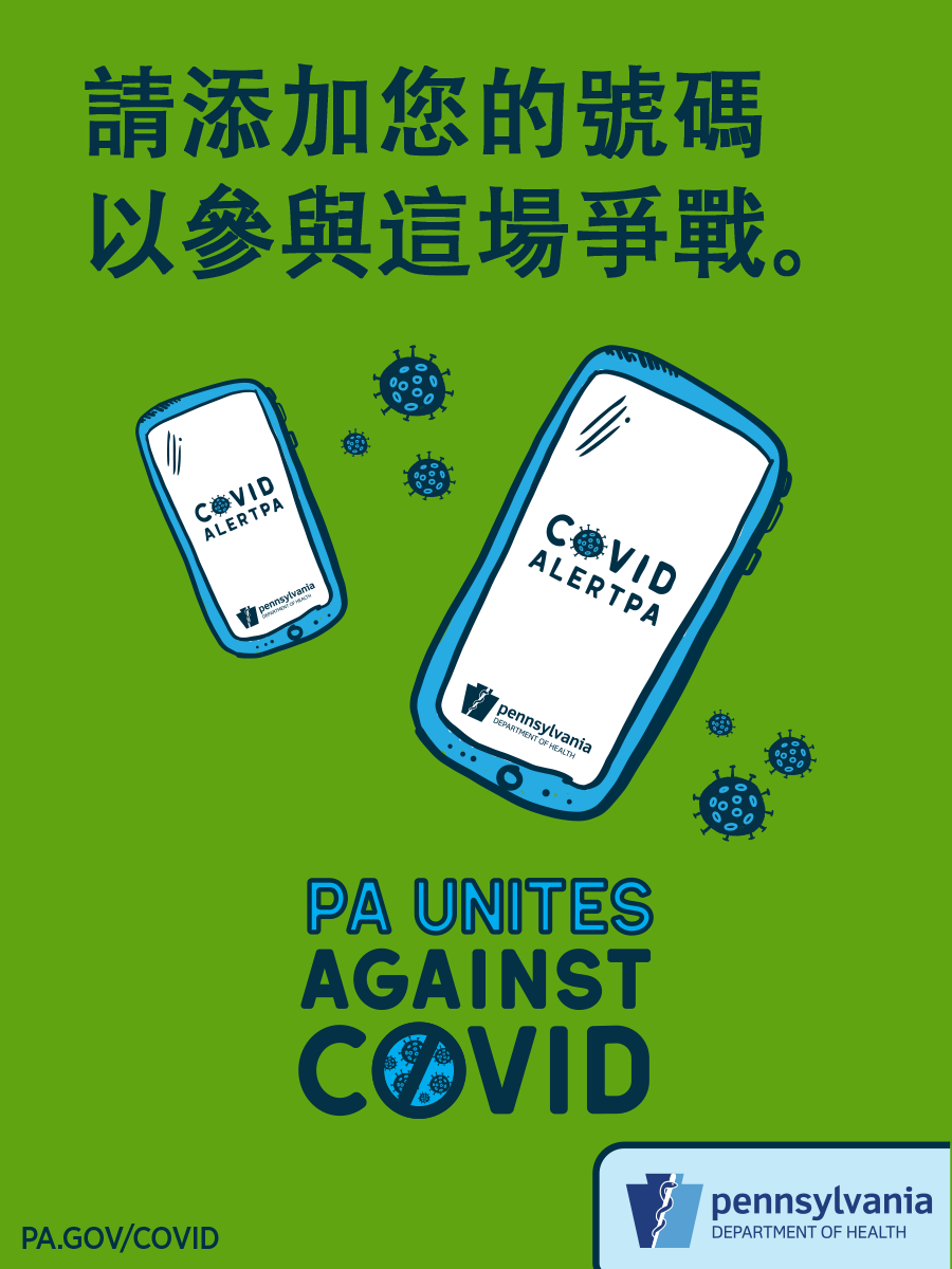 COVID Alert PA Postcard (5.5×4.25) – Chinese Traditional