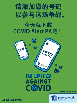 COVID Alert PA Postcard (5.5×4.25) – Chinese Simplified