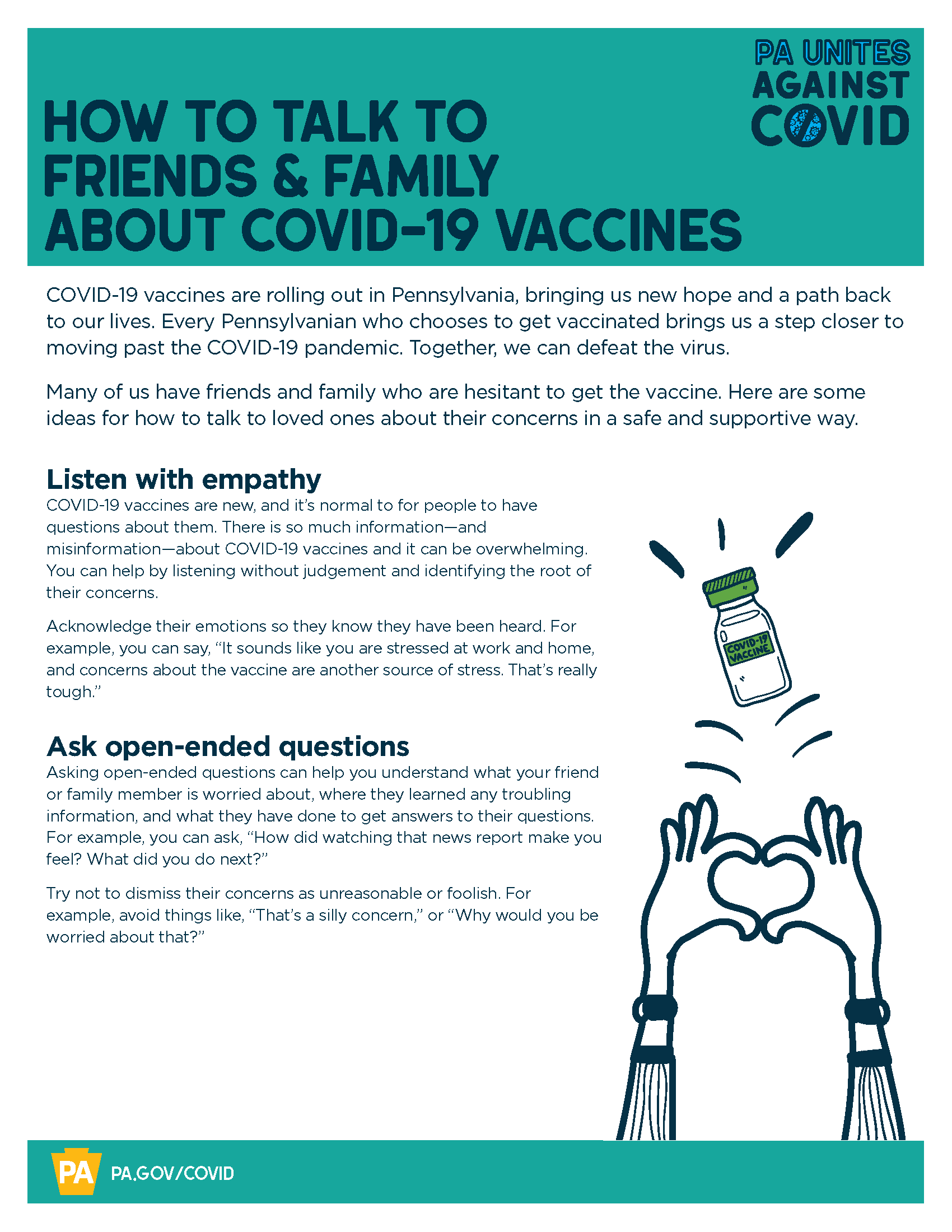 How to Talk to Family & Friends about COVID19 Vaccines Flyer (8.5×11)