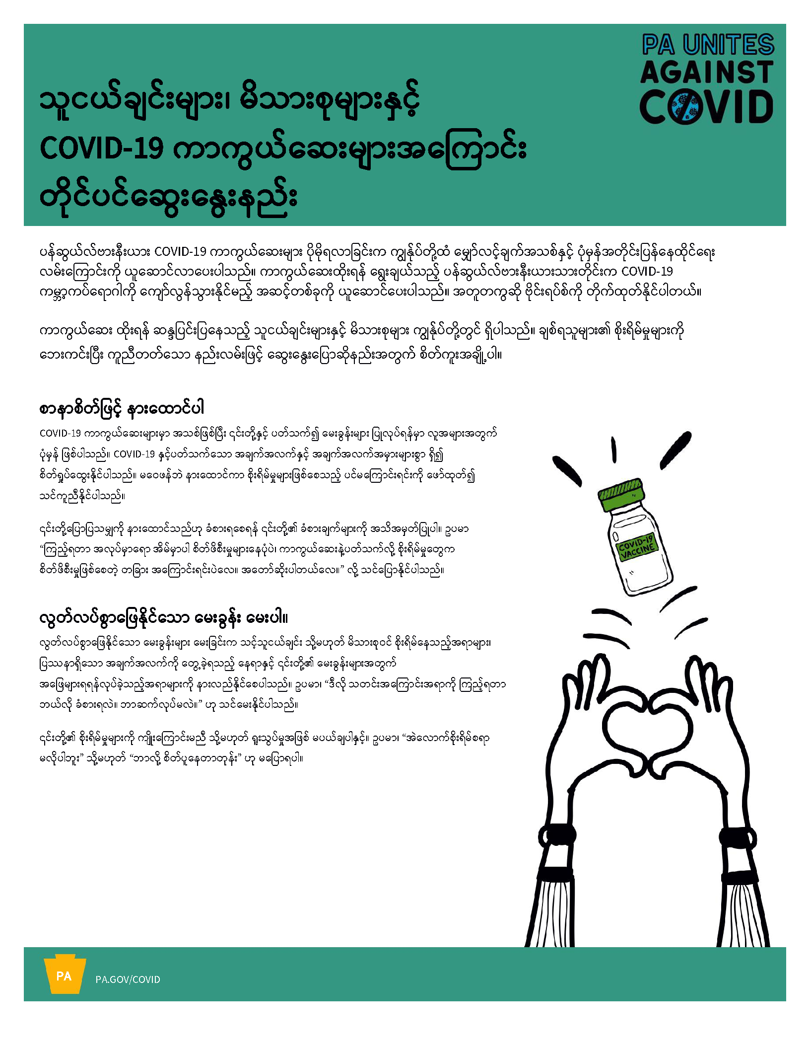 How to Talk to Family & Friends about COVID19 Vaccines Flyer (8.5×11) – Burmese