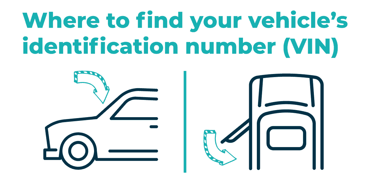 Graphic on where to find your vehicle's identification number.