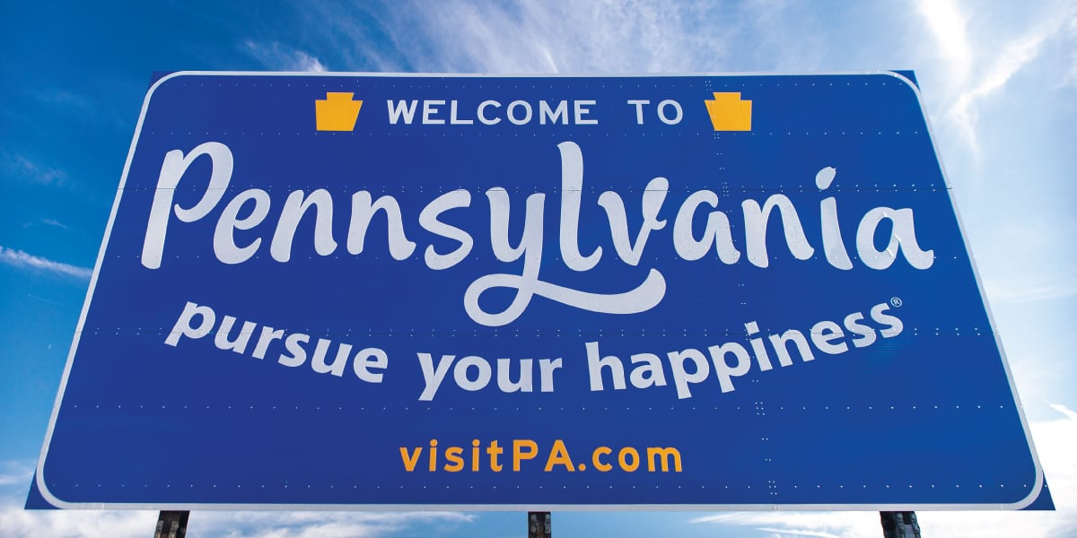 Image of a Welcome to Pennsylvania sign.