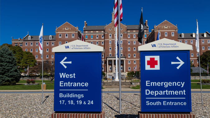 Entrance to VA hospital.