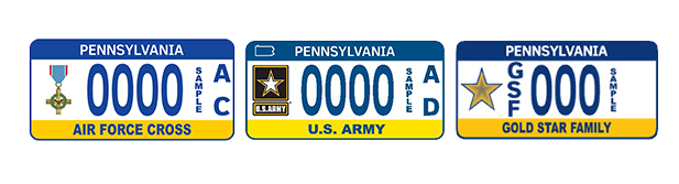 military license plates have a variety of designs and options